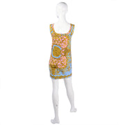 1992 Pink and Blue Gianni Versace Mini Dress with Medusa Baroque Print