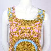 Gianni Versace Baroque gold print blue and pink pastel mini dress from early 1990's