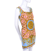 S/S 1992 Gianni Versace Vintage Dress in Pastel Baroque Medusa Print