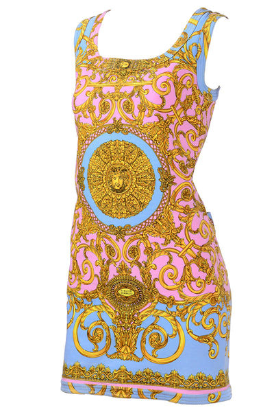 Pastel Baroque Print Versace Mini Dress 1992
