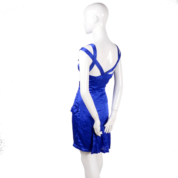Blue silk vintage Gianni Versace cross strap dress
