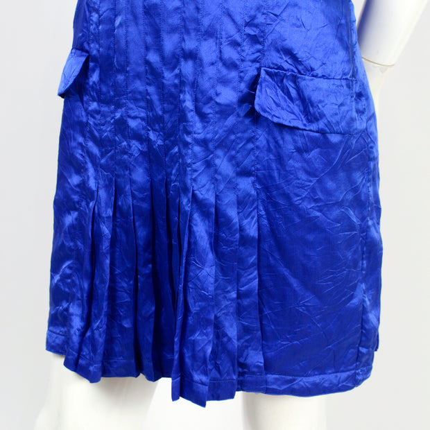 1990's pleated vintage blue Versace vintage dress