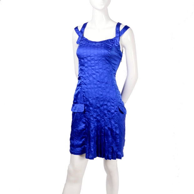Blue silk pleated vintage Versace blue dress