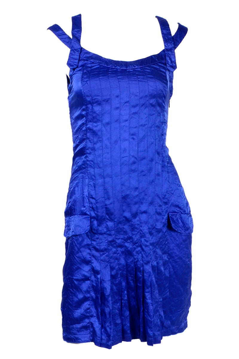 6db2fe722a19 Documented Spring 1994 Gianni Versace Couture Blue Crinkle Silk ...