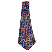 Navy blue Salvator Ferragamo vintage silk necktie with golfers