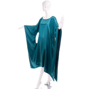 Avant Garde Teal Green Caftan Style Dress w/ Circle Cutout Sides
