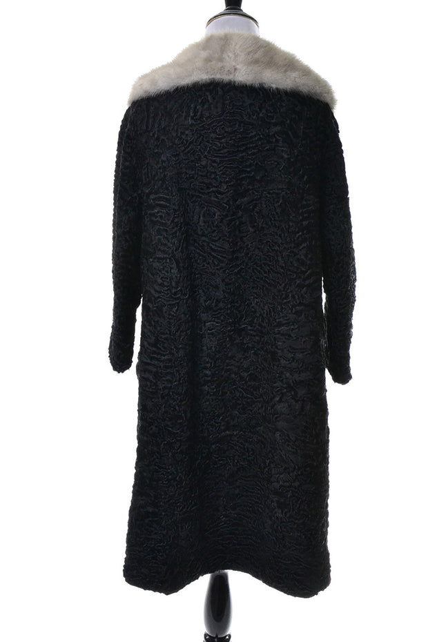 Schiaparelli Vintage Black Persian Curly Lambswool Coat Mink Collar - Dressing Vintage