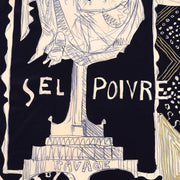 Sel Poivre Novelty Black & White Vintage Silk Scarf