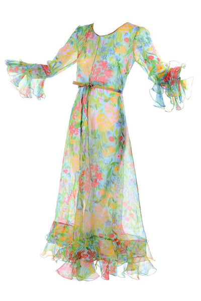Sheer Floral Organza Vintage Dress