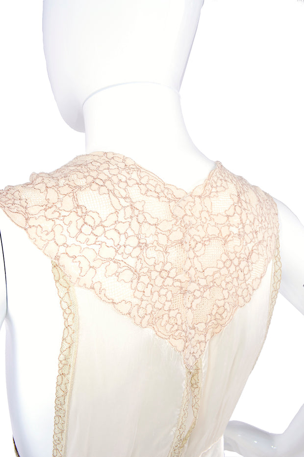 Keyhole cutout vintage lace nightgown