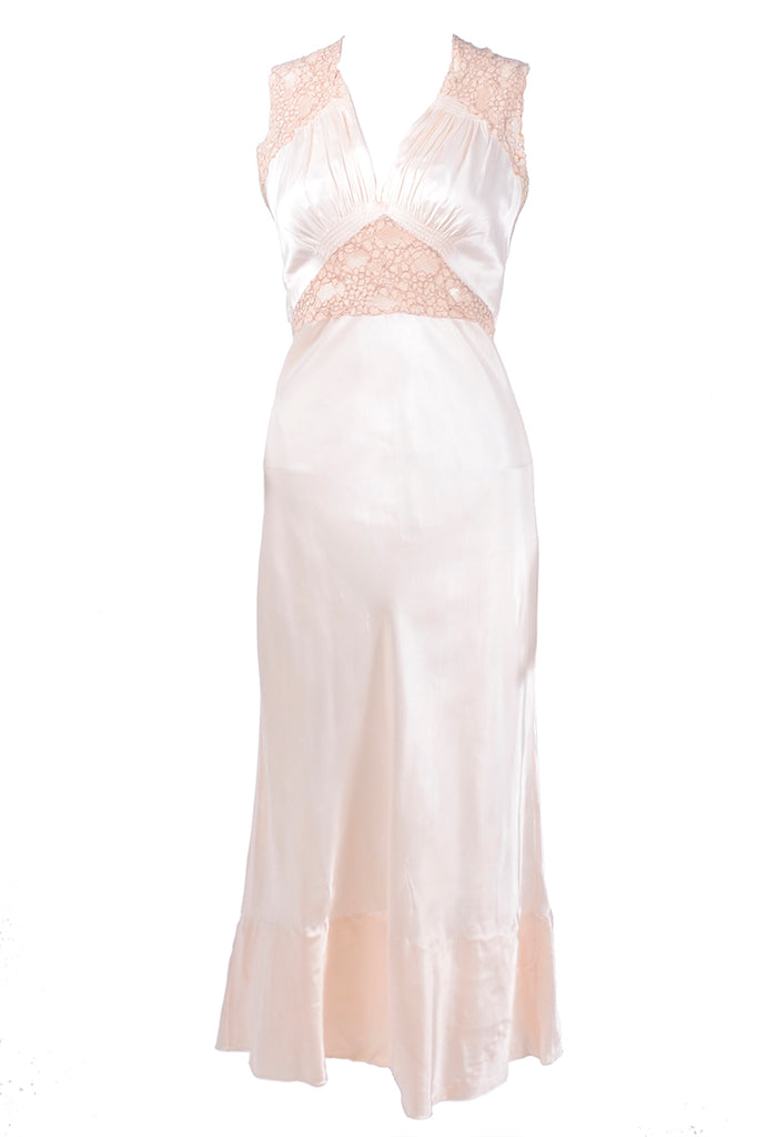 1940's bias cut silk nightgown with lace