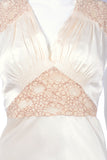 Peach silk and lace insert 30's nightgown