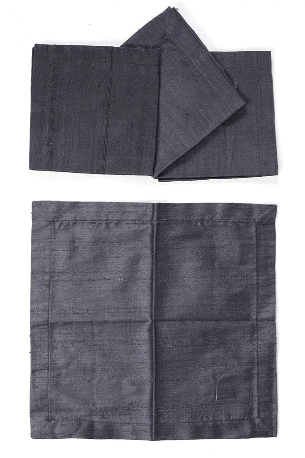 Grey Raw Silk Cocktail Napkins Set of 4