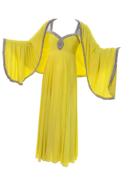 1960s chartreuse beaded keyhole vintage gown