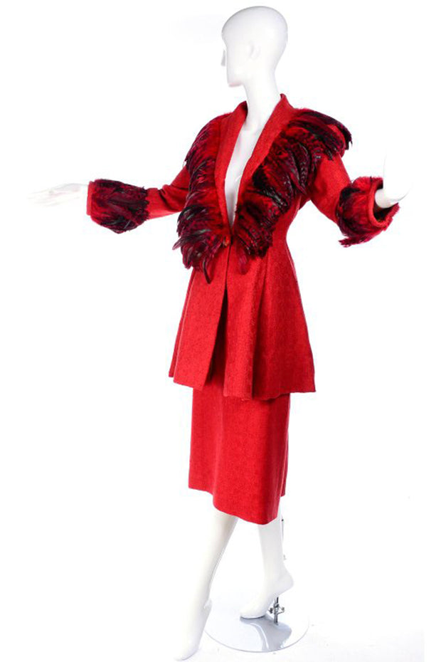 Simon Copeland Bespoke Red Suit w/ Long Skirt & Red Feather Jacket 8
