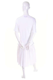 Simone Rocha White Cotton T Shirt Dress W Ruffles & Fine Tulle
