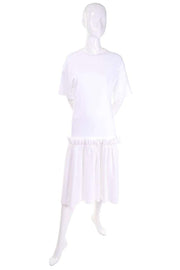 Simone Rocha White Cotton T Shirt Dress With Ruffles & Tulle