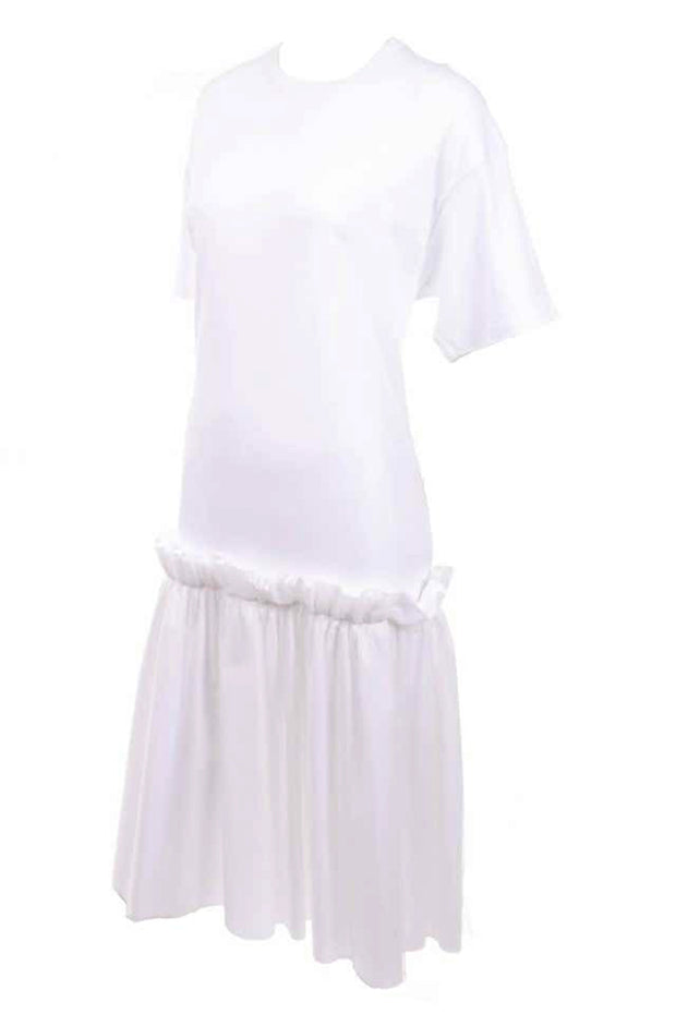Simone Rocha White Cotton T Shirt Dress W Ruffles & Tulle