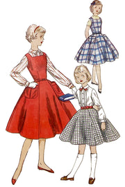 1955 Vintage Simplicity 1330 Girls Sewing Pattern for Jumper Dress Blouse & Skirt