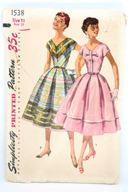 1950s 1950s Simplicity 1538 Vintage Dress Sewing Pattern