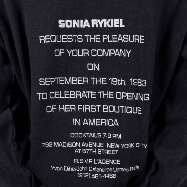 1983 Sonia Rykiel US Boutique Opening Invitation Sweatshirt
