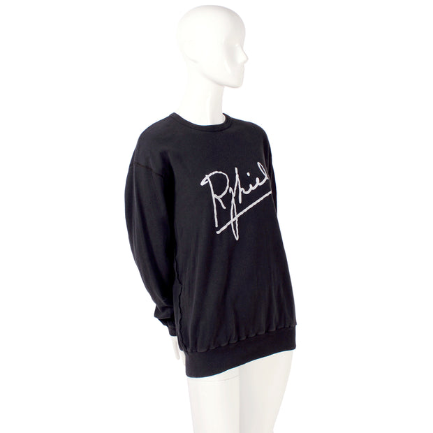 Sonia Rykiel Black Cotton Crewneck Sweatshirt Signature Front