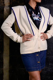 1980's Sonia Rykiel White Wool Sweater w/ Panels & Blue Trim