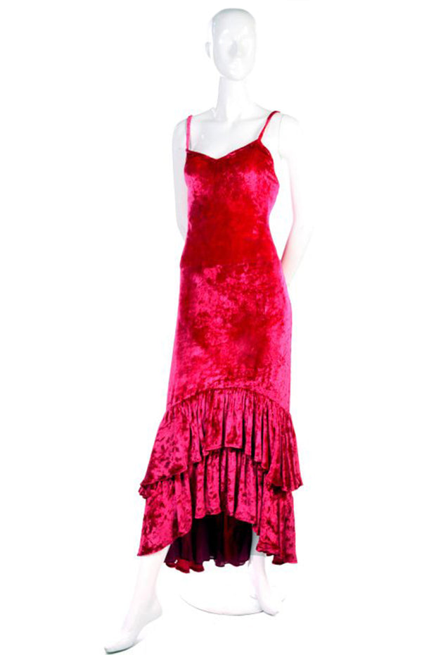 Sonia Rykiel raspberry pink crusehd velvet dress with high low hem