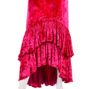 Sonia Rykiel raspberry pink dress with high low ruffle hem salsa dancing dress