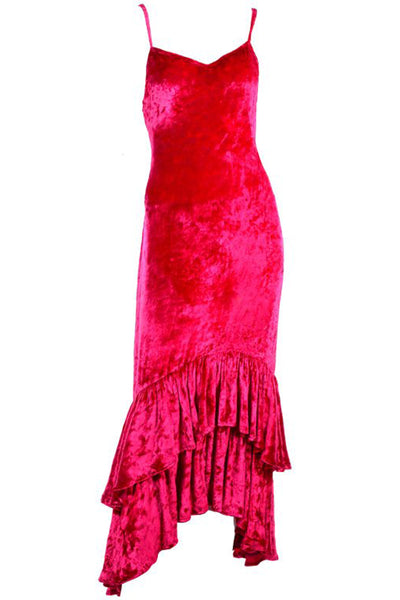 Raspberry pink crushed velvet vintage dress by Sonia Rykiel