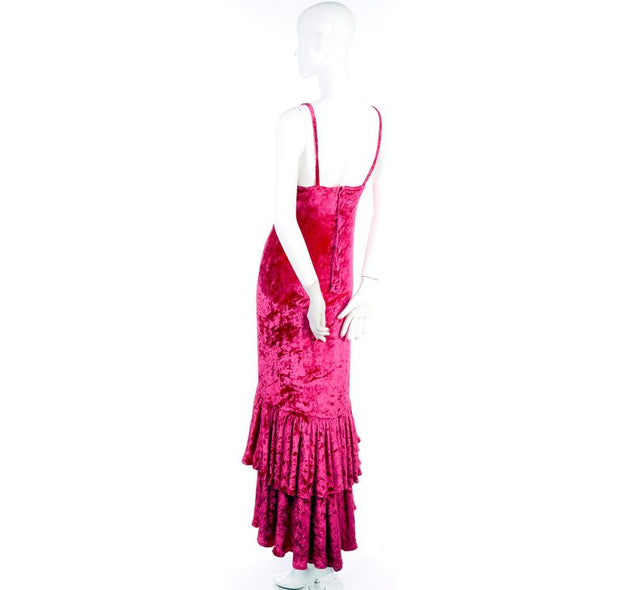 Sonia Rykiel Raspberry pink crushed velvet vintage dress