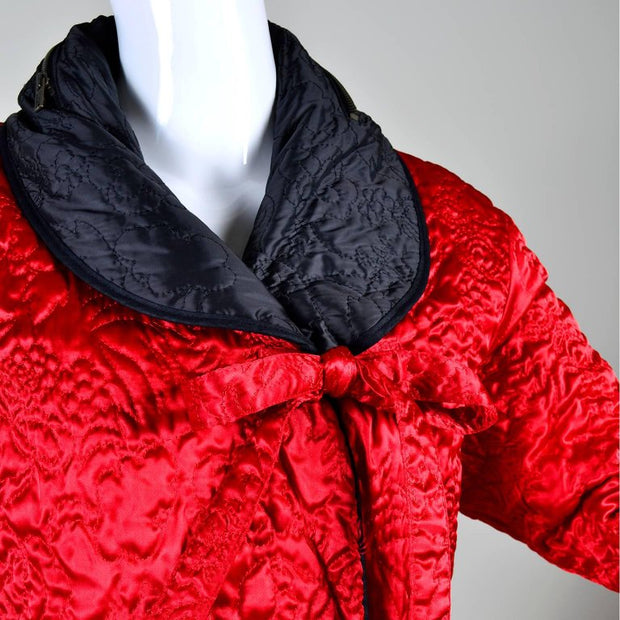 Shawl collar reversible quilted red and black Sonia Rykiel coat