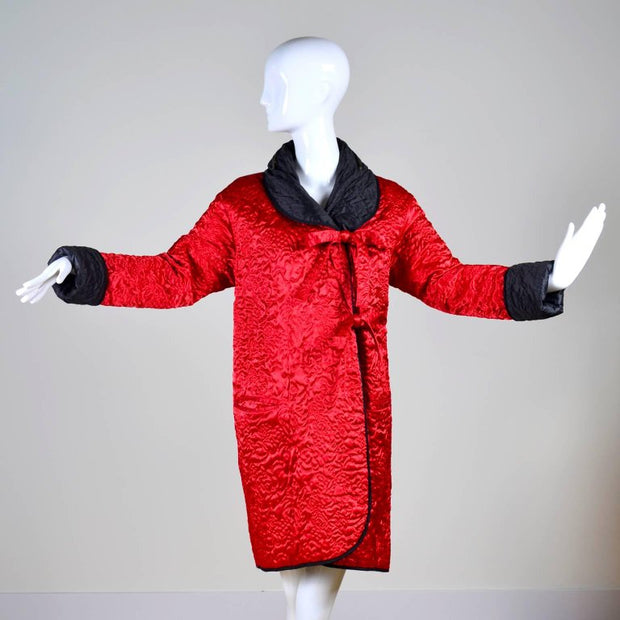 Red quilted vintage reversible coat with a zipped in hood