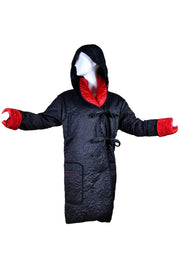 Quilted long reversible black and red coat with hood