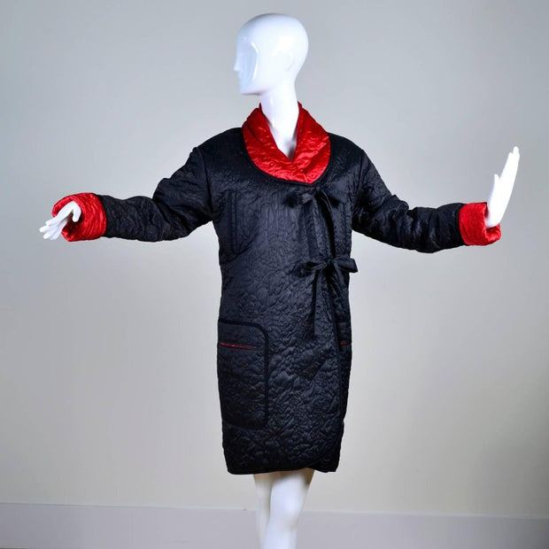 Reversible red and black quilted vintage coat with two front ties