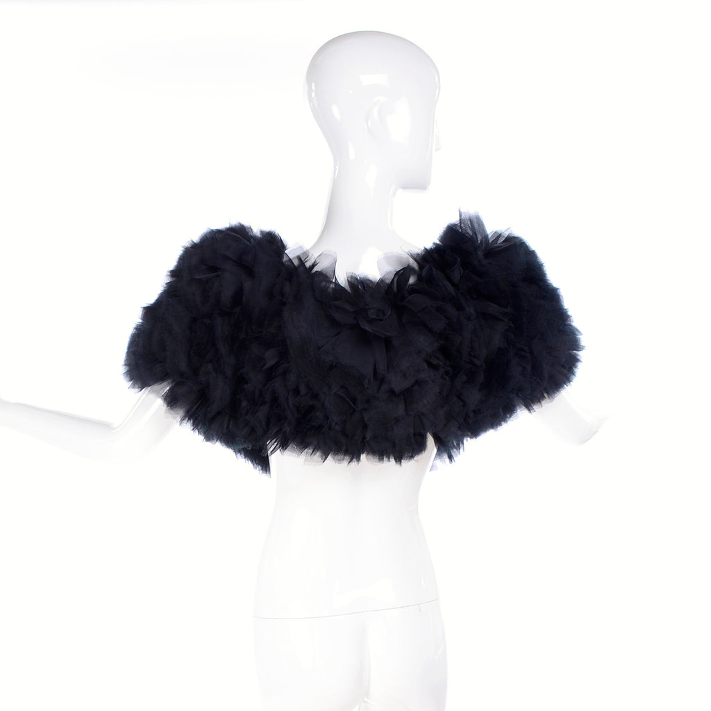 2009 Stella McCartney black ruffled silk like fur wrap