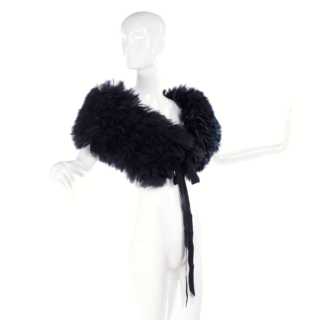 Tied shoulder wrap black silk organza ruffles