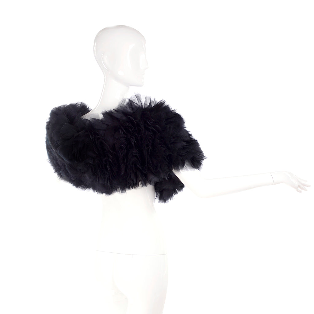 2009 Stella McCartney black ruffled silk organza wrap