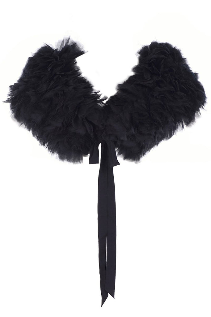 Black layered silk organza Stella McCartney stole 2009