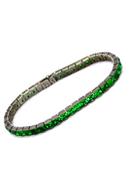 1920s Art Deco Wachenheimer Bros Diamonbar Faceted Green Sterling Silver Bracelet