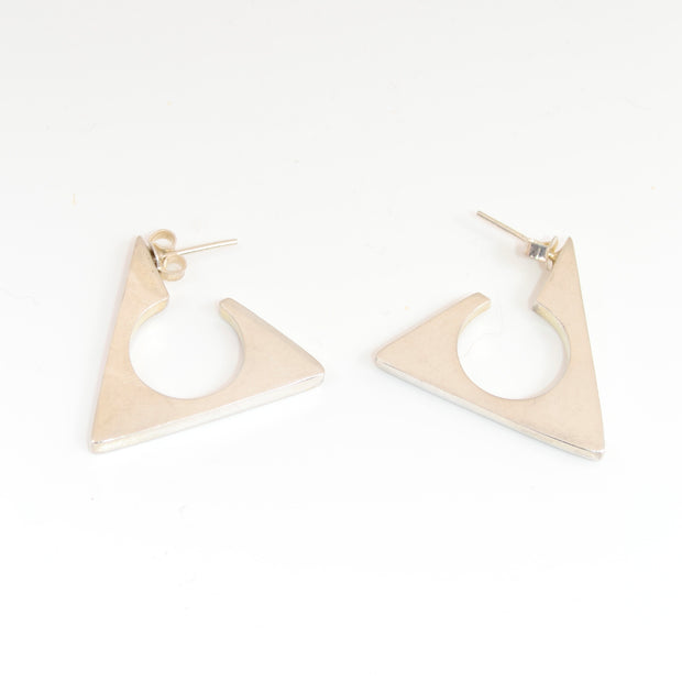 Taxco Vintage Sterling Silver Triangle Hoops