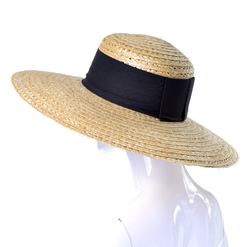 Vintage Hat Wide Brim Straw Black Ribbon