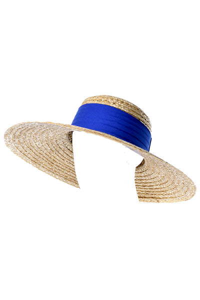 1970s or 1980s Vintage Straw Hat Blue Ribbon
