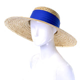 As New 1970s or 1980s Vintage Straw Hat Blue Ribbon