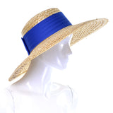 As New Vintage Straw Hat Blue Ribbon