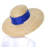 1970s or 1980s Vintage Straw Hat Blue Ribbon As New
