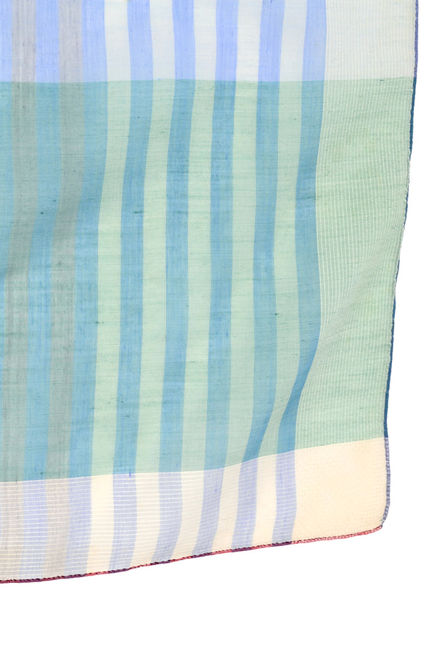 Striped Green, Blue & Red Striped Plaid Vintage Cotton Scarf