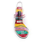 Unworn Stuart Weitzman Rainbow Leather Cutout Wedges w/ PVC Straps 38