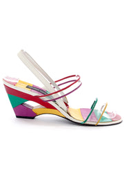 Stuart Weitzman rainbow leather cutout wedge heels