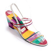 Stuart Weitzman vintage slingback colorful shoes with PVC clear plastic straps